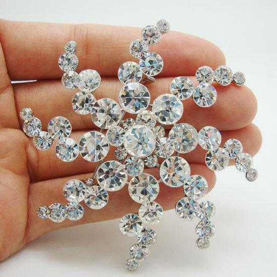 Fashion Bride Snow Flower Clear Rhinestone Crystal Wedding Bridesmaid Brooch Pin(China (Mainland))