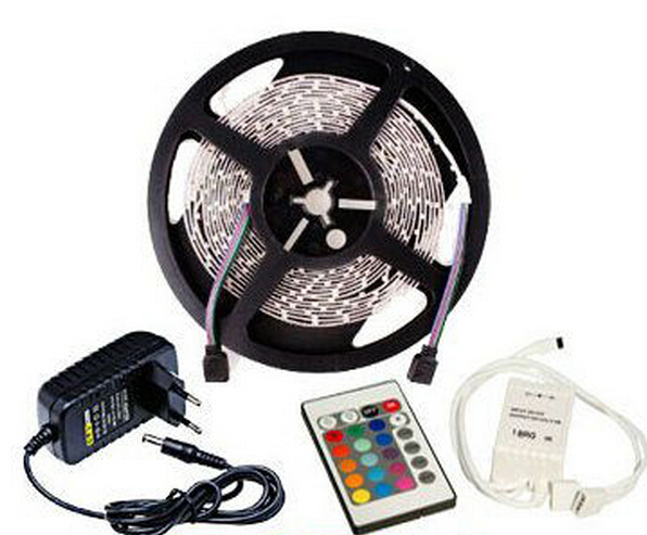5m Per Roll 12V RGB LED Strip Light SMD 3528 300 LEDS 12 Volt 60leds/m Non-waterproof 24 Keys Remote Controller 2A Power Adapter(China (Mainland))