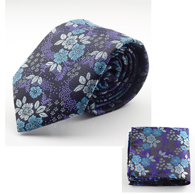 New Design Silk Tie Set for Men 7cm Tie Men Handkerchief And Necktie Cravate Homme Man Corbatas Hombre Floral Slim Wedding Tie(China (Mainland))