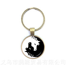 Yin-Yang Ying Yang Da Corrente Chave Mágica Sinal Zen Boho Estilo Chaveiro Keyholder Cabochon De Vidro Árvore Da Vida Para homens Mulheres Presente Da Menina(China)
