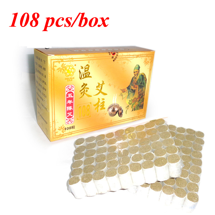 Chinese Medical Treatment Body Shoulder Therapy High Quality 5 Years Old Pure Moxa Roll 15:1 Artemisia Moxibustion Box 108pcs(China (Mainland))