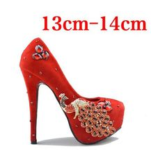 Crystal wedding shoes red bridal shoes new waterproof high-heeled red shoes wedding dress shoes for wedding pumps size34-41 P004(China (Mainland))