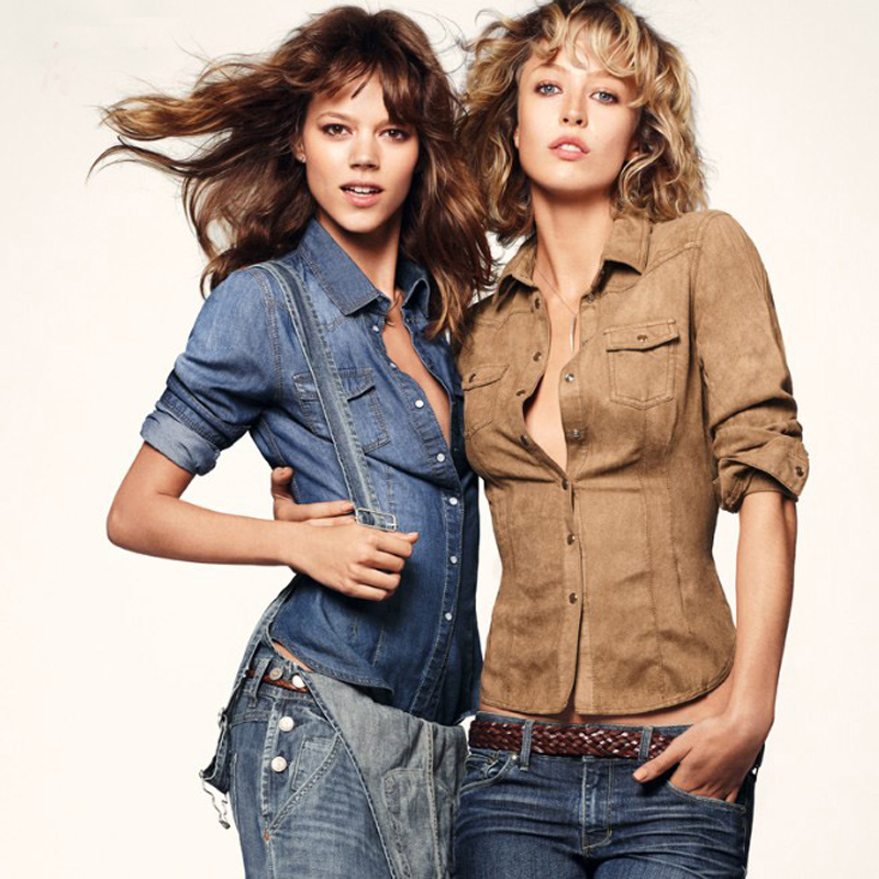 Trendy Women Washed Jeans Shirts OL Long Sleeve Tops Denim Button Down Blouse(China (Mainland))