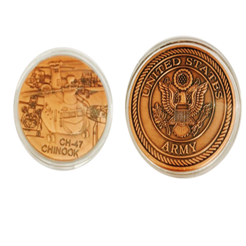 24K Gold Plated Coin with CH-47 CHINOOK Design Custom Challenge Coins 40*3mm For Collection(China (Mainland))