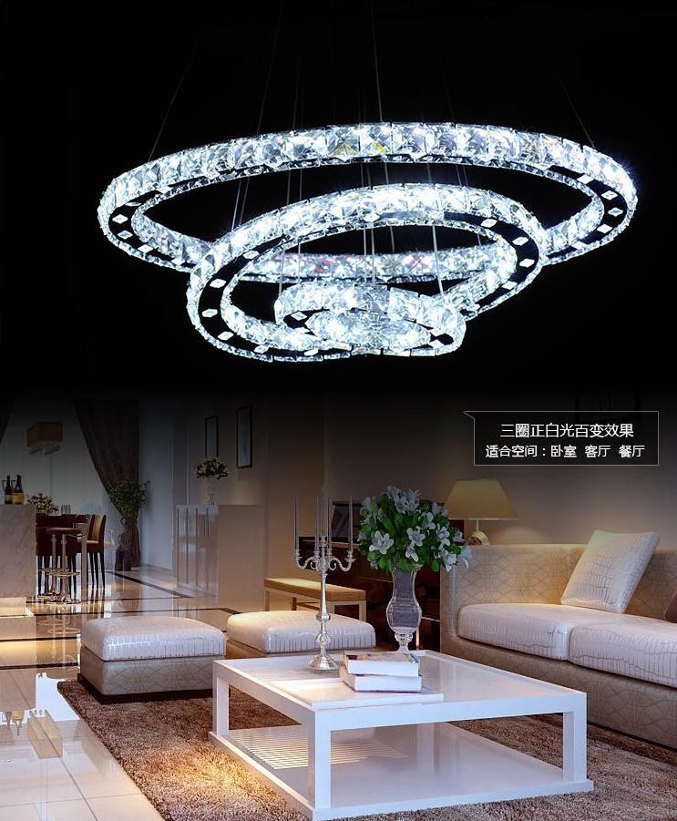 2015 new circle diamond ring hanging crystal chandelier