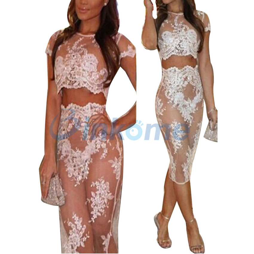 Women Organza White Lace Embroided Boutique Coord Two Piece Dress Set New Summer Top Lady's Dress(China (Mainland))