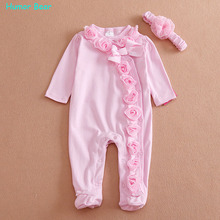 Buy Humor Bear NEW Newborn Baby Girl Clothes Bow/Flowers Romper Clothing Set Jumpsuit & Headband 2 PC Cute Infant Cirls Rompers for $8.12 in AliExpress store