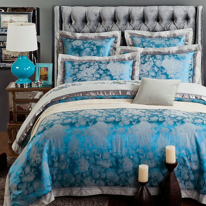 6/4pcs Silk Bedding Set Bedclothes Embroidery Bed Linen Jacquard Duvet Cover King Queen Size blue Bedspread Cotton Sheet(China (Mainland))