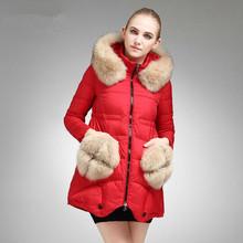 Korean Plush Double Pocket Long Genuine White Duck Down Jacket Women Winter Nagymaros Collar Coat abrigos y chaquetas JY-920