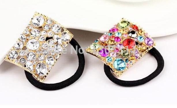 2 Color Crystal Rhinestone Girls Hair Rope Ties Band Ponytail Holder Jewery One Pcs New Free Shipping(China (Mainland))