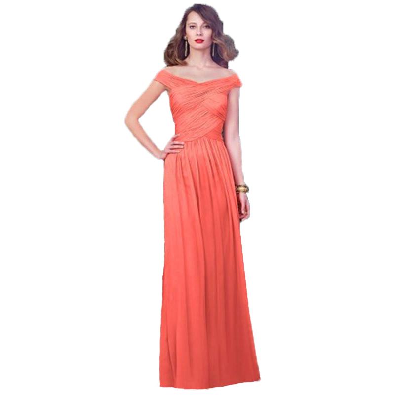 Buy v neck off the shoulder cap sleeve a for Plus size coral dress for wedding