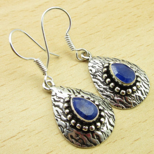 SAPPHIRE Classic stud Jewel ! Silver Plated Earrings 1 1/2 Inches ONLINE STORE(China (Mainland))