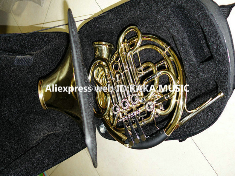 Wholesale Newest Professional CTE 4 key Double French Horn withcase Gold Brass Free Shipping(China (Mainland))