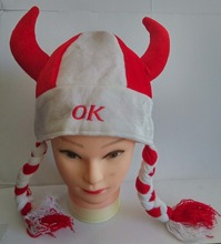 Free shipping .children adult red and white horn Clown fan Hat with plait party halloween christmas hat with OK(China (Mainland))