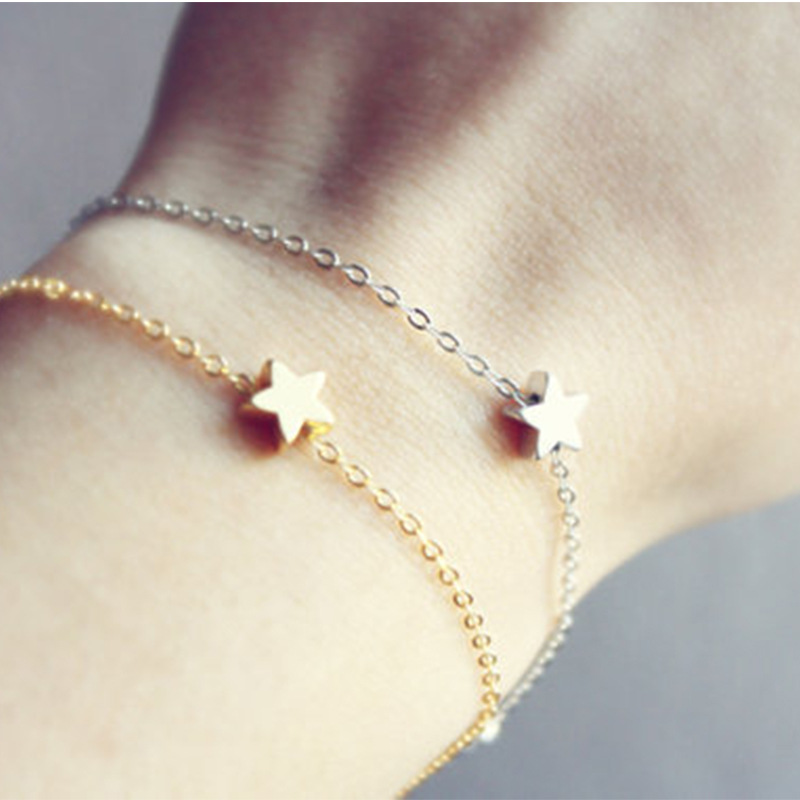 2 Pcs/Lot Fashion Simple Gold Silver Plated Star Chain Charm Bracelet Women Girl Jewelry Gift t593(China (Mainland))