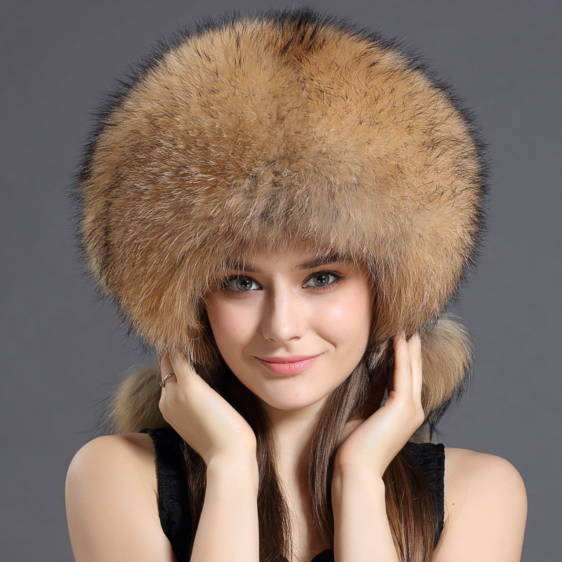 Winter Women Hats For Female Unisex Winter For Men Luxury Real Fox Fur Genuine Caps Solid Brown/Wine Color Russian Hat Bombers(China (Mainland))