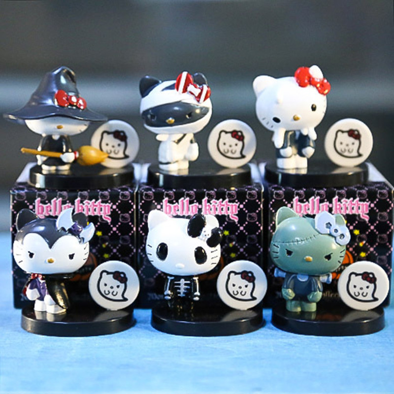 6Pcs/Set Hello Kitty PVC Action Figures Toy Set Kids Lovely Kitty Cat Toys Best Hallowmas Gifts for Children with Retail Box(China (Mainland))