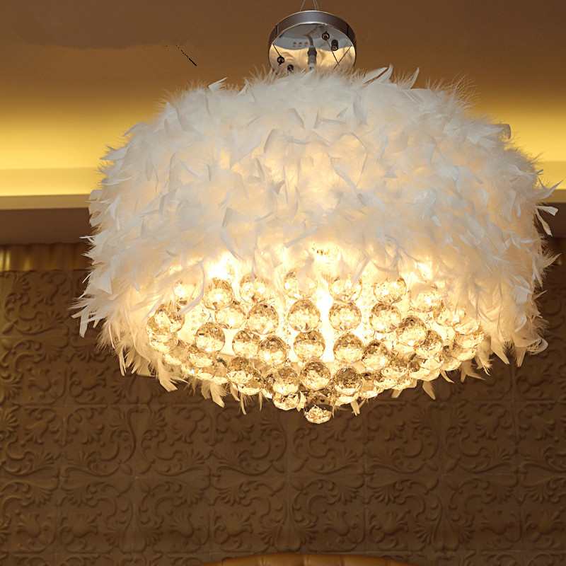 Modern Lustres Crystal Ceiling Pendant Lamp With Fur Decor LED Feather Lampshade Pendant Light Lighting Fixture luminaire avize(China (Mainland))