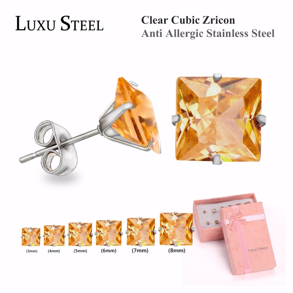 LUXUSTEEL Champagne Square Shape Stud Earrings Set, Women Earrings Set With Steel Ear Holder, Six-piec Earrings Set(China (Mainland))
