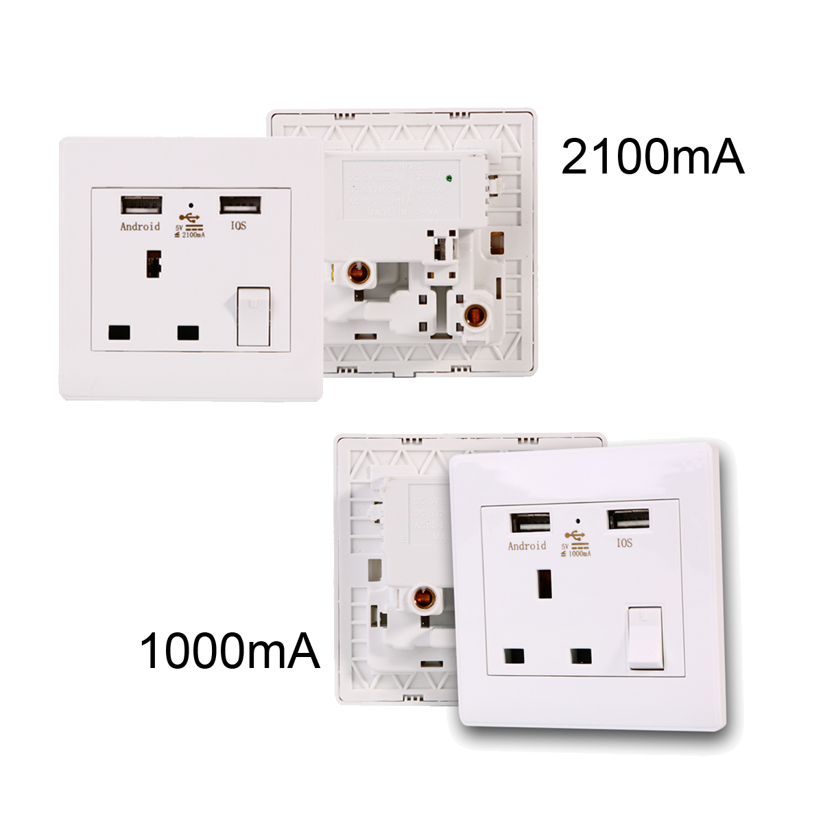 2A USB Outlets Wall Single Electric Plug Socket 1 Gang Built-in USB Charger 110~250V/50/60Hz MB-UK tomada usb BI080(China (Mainland))