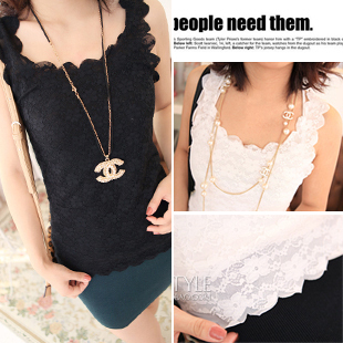 Summer scalloped full lace slim basic shirt vest spaghetti strap