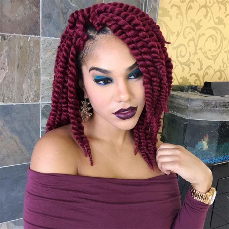 hair crochet hanava mambo twist hair kanekalon fiber red purple ...