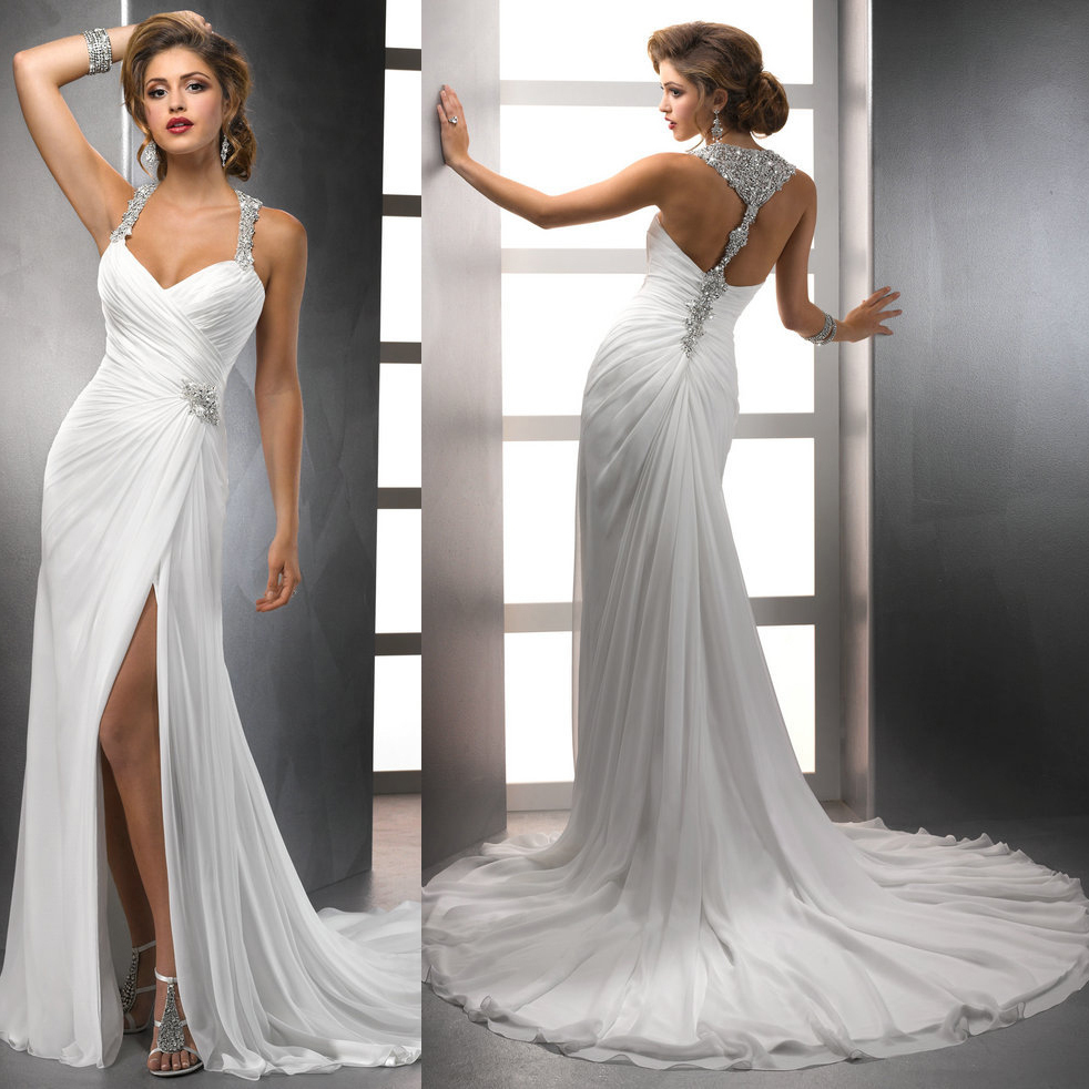 2014 new design wholesale chiffon flowing beach halter for Flowing beach wedding dresses