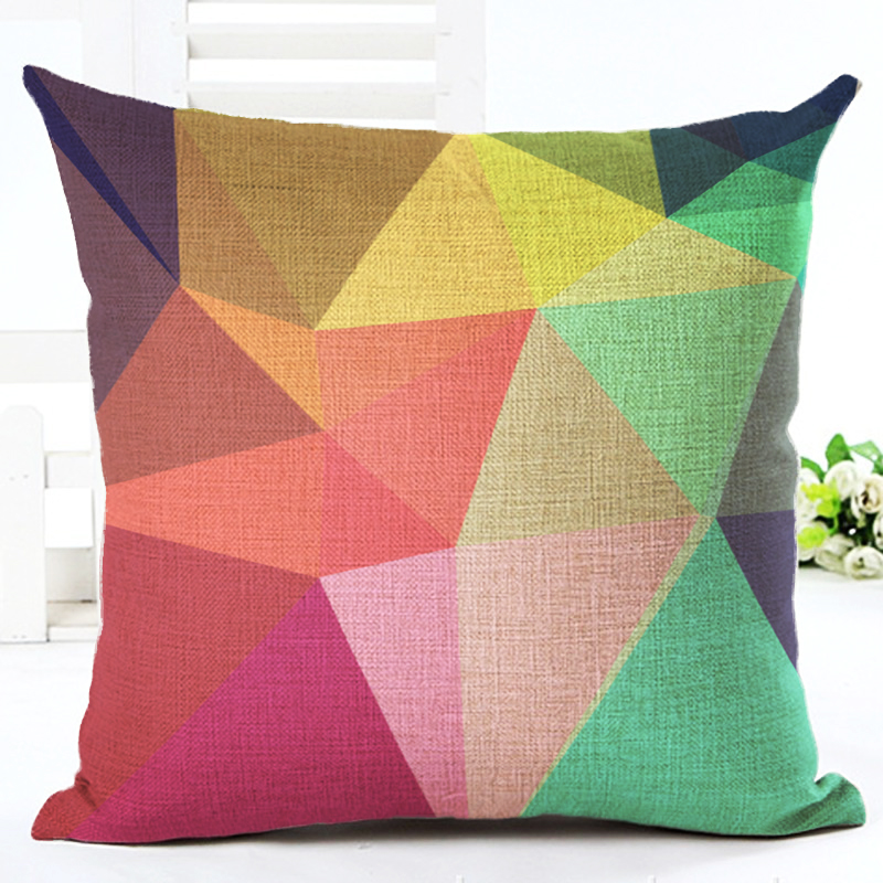 European Cushion Home Sofa Car Throw Pillows Geometric Style Plaid Printed Signature Cotton Funda Cojin Cushion Cushion(China (Mainland))