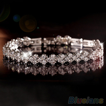 Women Roman Chain Clear Zircon Crystal Bangle Rhinestone 3 layers Bracelet  1CYW(China (Mainland))