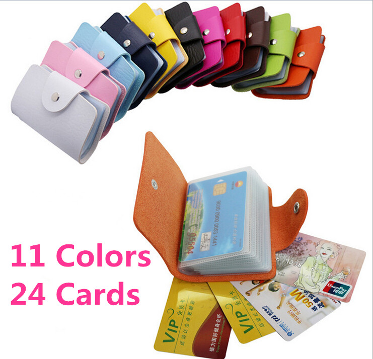 Business Credit Card Wallet Holder Bags PU Leather Buckle Bank Card Bag 24 ID Card Cover Bank Multi-functional Cover BB071-SZ(China (Mainland))