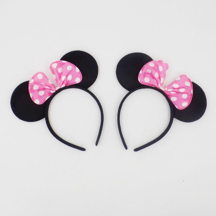 1pc Lot Hair Accessories Minnie Mouse Ear Solid Pink Black Headbands Headwear Birthday