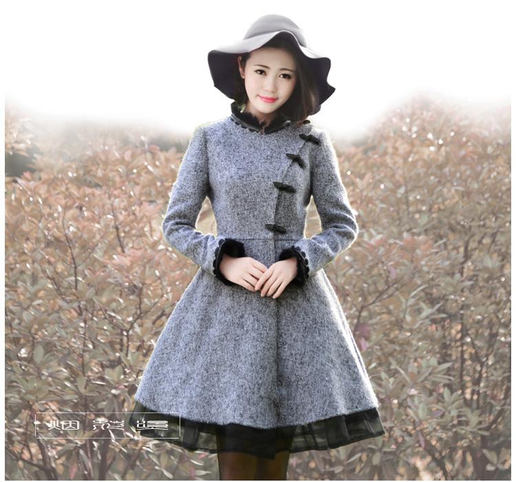 DEMON STYLE 2014 Winter new elegant lace patchwork woolen coats,womens outerwear coatОдежда и ак�е��уары<br><br><br>Aliexpress