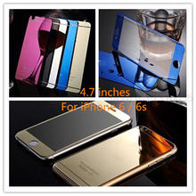 Lastest Front+Back Premium Plating Mirror Colored Tempered Glass for iphone 6 6s 4.7 inch Full Cover Screen Protector film Gold