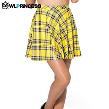 Owlprincess Ladies Tartan Yellow Skater Saia Mini Skirts Women Sexy Summer Digital Printed Stripeed punk Short Pleated Skirt