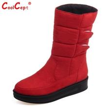 2016 Moda A Prueba de agua Botas de Nieve de Las Mujeres Mediados de la Pantorrilla Botas de Invierno Plana Botas de Mujer de Piel Plataforma de Zapatos de Mujer de Tamaño 30-52(China (Mainland))