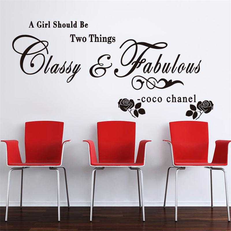 A girl should be Classy and Fabulous quote wall stickers Rose vinyl home decoration wall sticker adesivo de parede