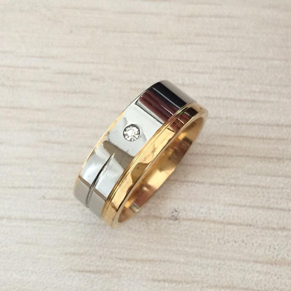 8MM Men's Titanium wedding Ring gold silver Inlay cz diamond and Beveled Edges engagement ring Size 7-13 fast(China (Mainland))