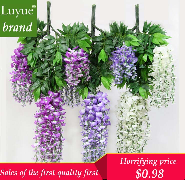 Special simulation flower wisteria pudding wedding decoration simulation plant rattan cane plastic silk flower wall hanging(China (Mainland))