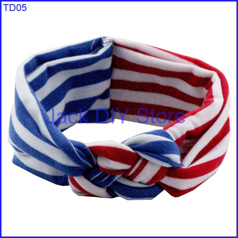 10pcs/lot 4th of July America Headband Red White Blue top knot headwrap hair accessories(China (Mainland))