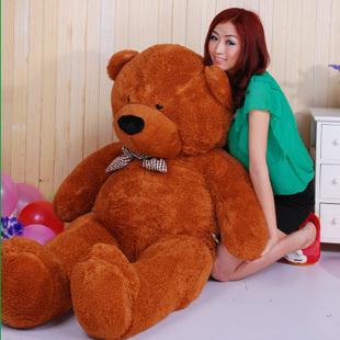 lovely huge bear toy plushed toy cute big eyes bow stuffed bear toy teddy bear birthday gift dark brown 120cm(China (Mainland))