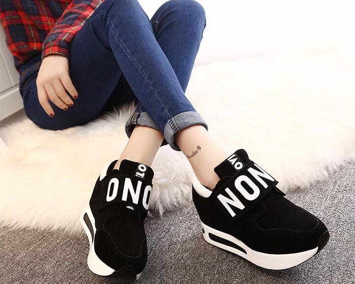 Sıcak Yeni 2016 moda Açık Kadın rahat Bahar sonbahar sihirli artan ayakkabı Yüksek Kalite platformu siyah kadın tek ayakkabı