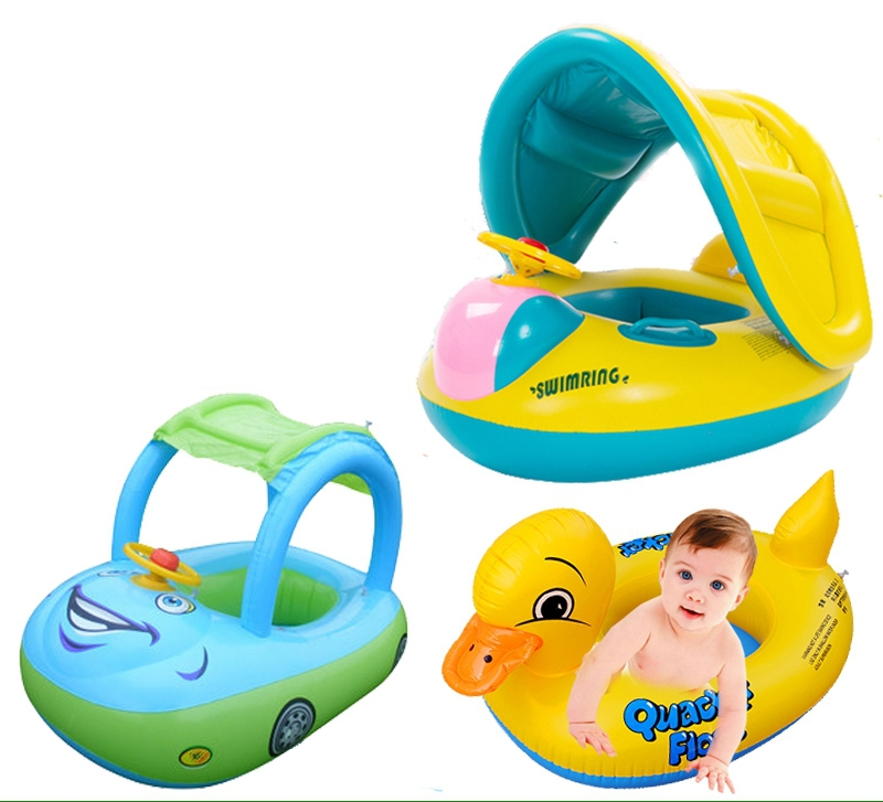 Cartoon Designs Inflatable Toddler Baby Swim Ring Float Seat Children outdoor Swimming Pool Seat with Canopy(China (Mainland))