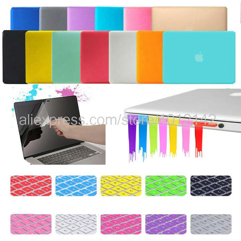 """4in1 Matte Hard Crystal Glossy Case Cover + Keyboard Skin + Screen Protection + Dust plug For 11"""" 13"""" 15"""" Macbook Air Pro Retina(China (Mainland))"""