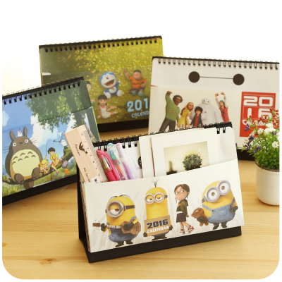 Creative Cartoon Cute Desktop Pocket Calendar Desk Planner 2016 Totoro Agenda Planner Organizer Calendario Daily Planner(China (Mainland))