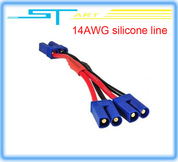 low shipping fee 10cm Ec5  2 female with 4 male banana plug +14AWG silicone line with blue protector helikopter