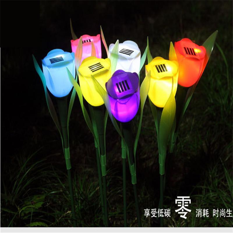 NEW Outdoor Yard Garden Path lamp  Solar Power Tulip Landscape Flower Light decoration<br><br>Aliexpress