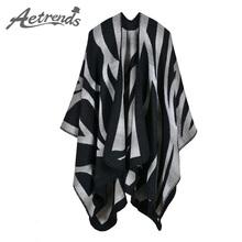 [AETRENDS] 2016 New Winter Scarves Cashmere Feel Scarf Women Poncho Cape Fashion Striped Design Z-3981()