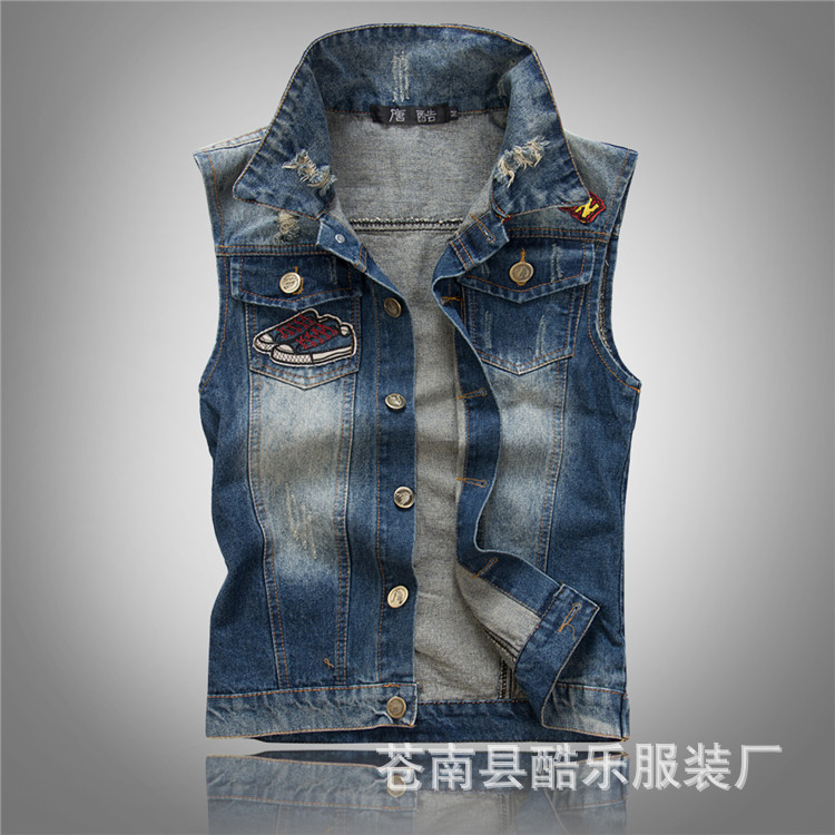 Spring and summer men's clothing denim vest waistcoat band ...