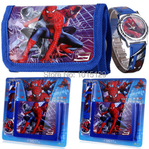 Spider Man Children's Watch Wallet Set For Kids Boys Girls Great Christmas Gift(China (Mainland))