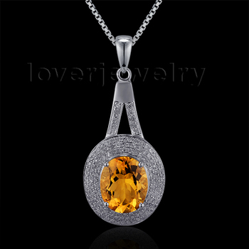 Fantastic Natural Diamond Citrine Pendant In Solid 14Kt White Gold Pendant Oval 9x11mm For Sale
